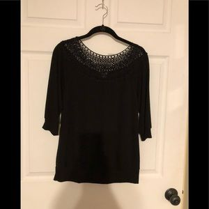 Forever 21 black top with crocheted neckline